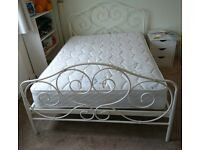 White Metal Double Bed Frame and Mattress