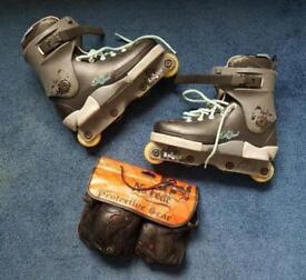 Pro Inline Skates + Knee & Elbow Protection (Size 8)