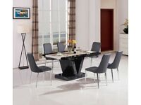 Marble Effect Dining Table & Chairs