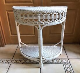 Lloyd Loom style half moon white wicker table