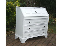 Vintage Retro Shabby Chic Painted Bureau / Writing Desk with Drawers - Lockable
