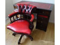 Antique Pedestal Leather Top Desk & Captains Chair - Perfect Condition
