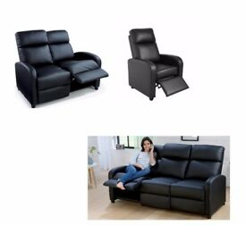 BRAND NEW 3 PIECE LIVING ROOM SET 3 +2 + 1 Seater Recliner Sofa black leather .