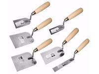 6 x Margin Stucco Trowel SET of 6pcs Wooden handle. Stainless Steel (FULL SET) NEW