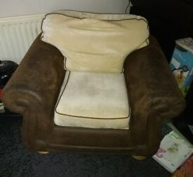 Sofabed and armchair