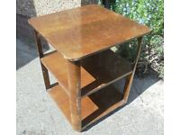 Vintage Side Table with Shelves and Casters, Ideal to Paint