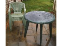 Garden Table and 4 Chairs - Table Size 31 inch Diameter x 28.5 inch Height