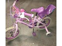 Girls Disney princess bike with stabilisers
