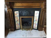 Gas fire, Marble hearth and Dark wood Surround