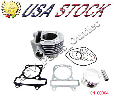 57mm Engine Cylinder w/Head Gasket and Piston Set for 150cc GY6 4 Stroke Scooter 150 Cc Cylinder Head