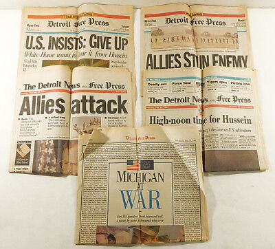 5  Detroit Free Press   News Feb  1991 Gulf War Newspapers   Desert Storm