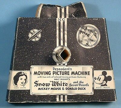 1938 Snow White Moving Picture Machine Pepsodent Toothpaste Premium Disney Ent.