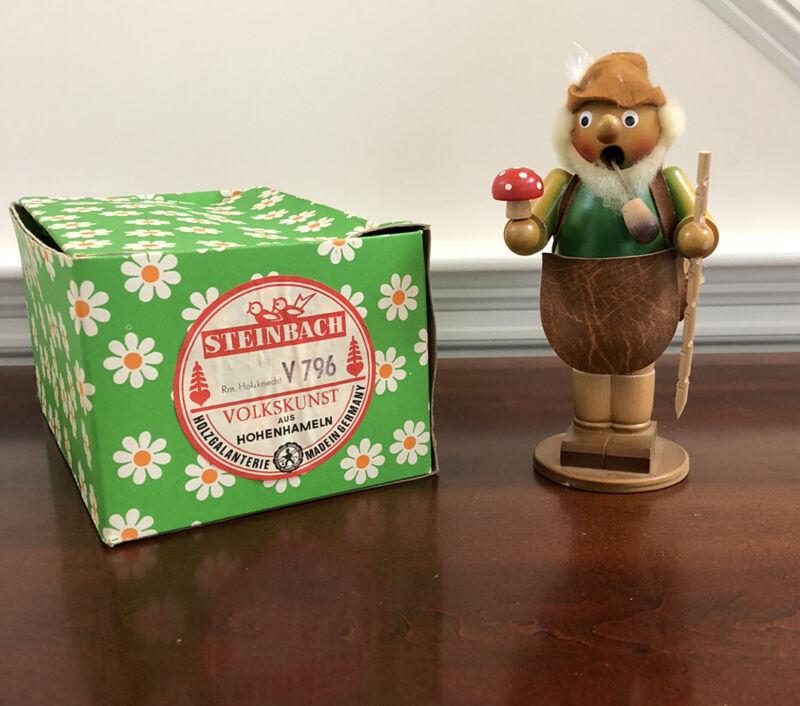 "Antique Steinbach Germany Incense Smoker Alpine Lumberjack Mushroom 8"""