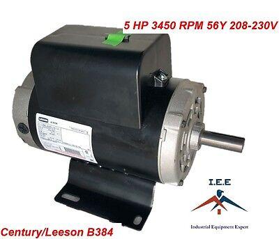 5 Hp Single Phase Spl 3450 Rpm 56 Frame 230v 22amp 78 Shaft Nema Motor