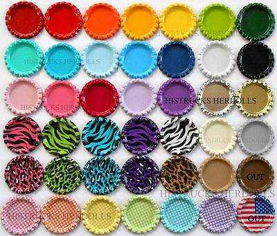 "100  1"" MIX NEW FLAT DOUBLE SIDED LINERLESS BOTTLE CAPS YOU CHOOSE MIX FLATTENED"