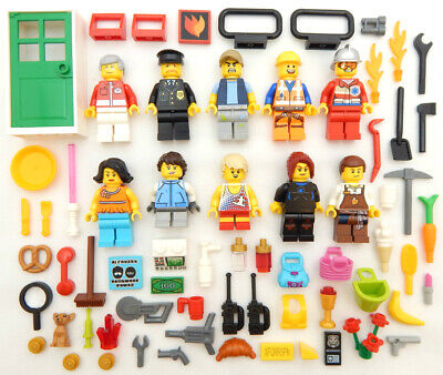 10 NEW LEGO CITY & TOWN MINIFIG LOT people minifigures figures male female guys
