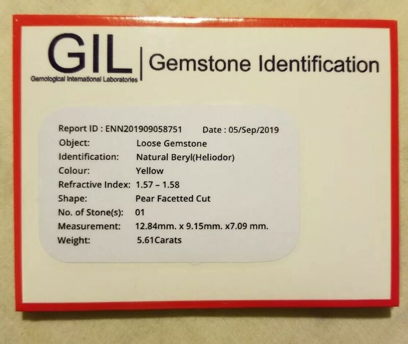 GIL Certified 5.61 Ct Natural Heliodor Pear shape Gemstone