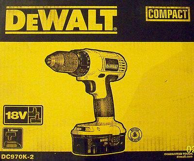 Dewalt Dc970k-2 18v Nicd 1/2 Cordless Drill/driver W/2 Batteries/charger/case