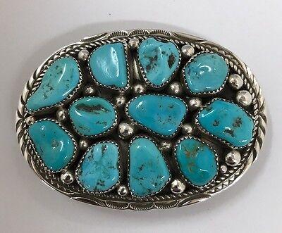 Native American Sterling Silver Navajo Handmade Turquoise Belt Buckle