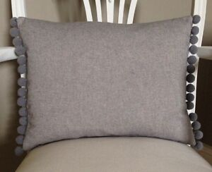 Grey French Vintage Linen Look Shabby Chic Cushion Cover & Pom Pom Trim