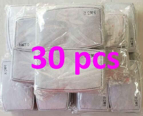 30 Pack PM2.5 Activated Carbon Filters 5 Layer Replacement For Face Mask Cover
