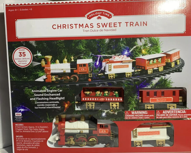 Christmas Tree Train W/ 4 Cars! /Headlight/Sound Battery, Mounts To Your Tree