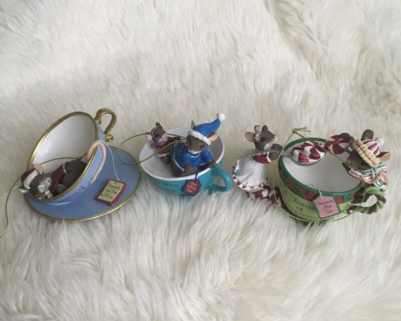 Bradford Exchange Mouse Tea Cup Ornament Set Christmas Mice Lot