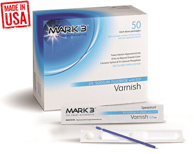 Varnish 5 Sodium Fluoride W Tcp 2 X 5 Pcs By Mark3 Spearmint - Made In Usa