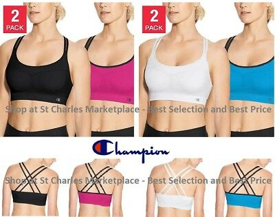 Champion Women's Seamless Criss Cross Sports Bra - 2 Pack - Pick Color and Size! Criss Cross Sports Bra