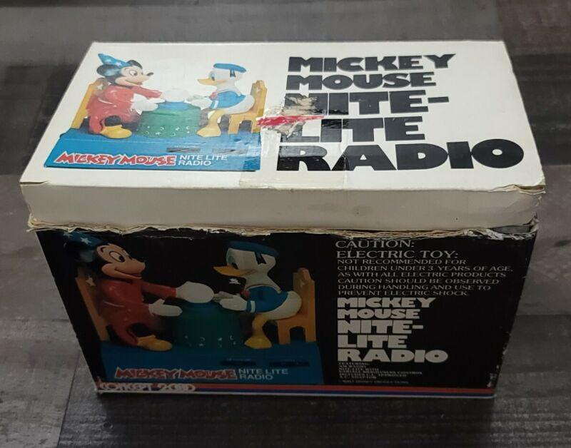 Concept 2000 Disney 1970s Mickey Mouse Nite-Lite Radio In Original Box Works
