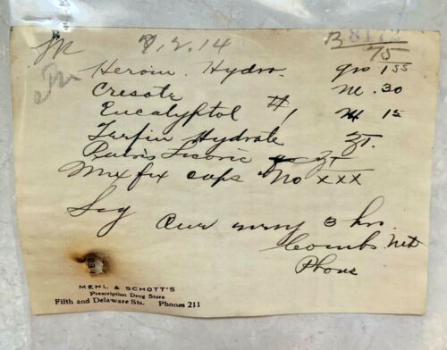Antique Heroin Prescription 1914 Paper Ephemera Leavenworth Kansas Pharmacy