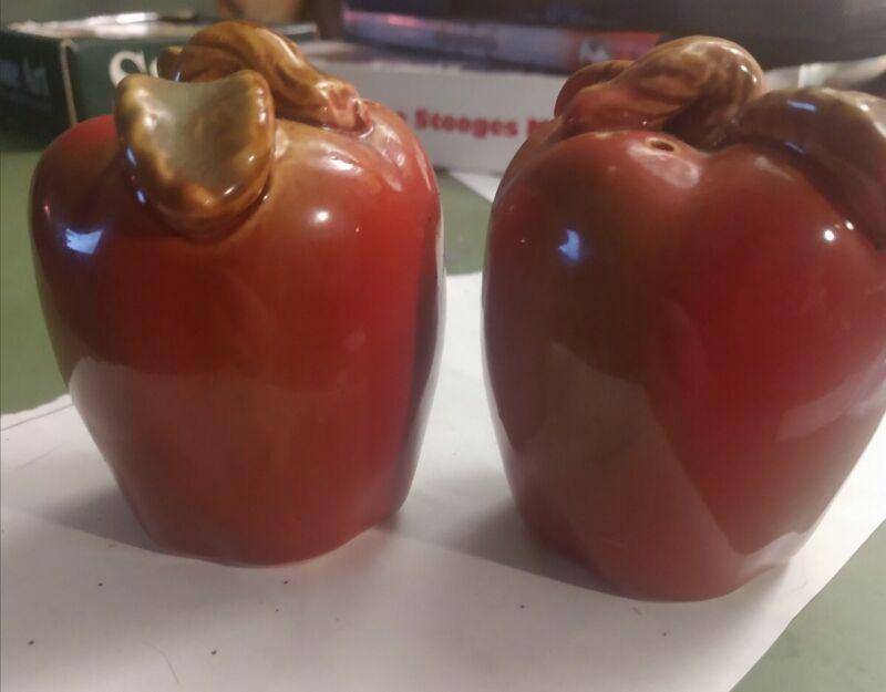 "Vintage Salt & Pepper Shakers Apple Shaped 3"" Ceramic"