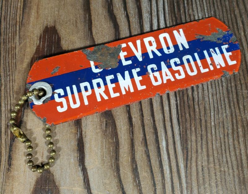 Chevron Supreme Gasoline Key Tag Large Metal Vintage Collectible
