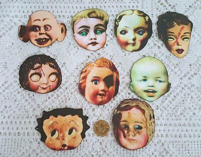 Halloween~Vintage~Creepy~Doll~Heads~Frozen Charlottes~Linen Cardstock~Paper Cuts (Vintage Halloween Paper Dolls)