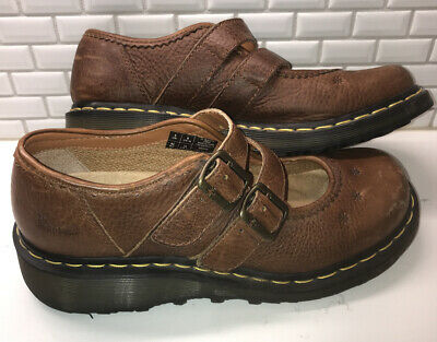 Dr Doc Martens AW004 Brown Leather Strap Mary Jane Shoes Womens Size US 10 EUC! Brown Leather Mary Jane