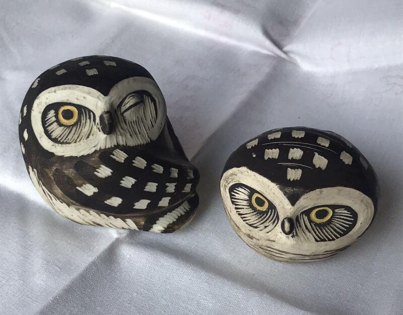 Pair Of Signed Vintage Gustavsberg Sweden Edvard Lindahl RARE Owls