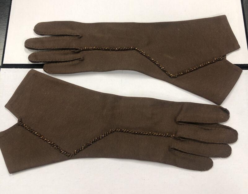 Vintage Gloves Brown Beaded Trim