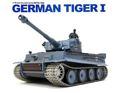 1:16 RC German Tiger I Heavy Tank 2.4GHz Smoke & Sound W/ Metal Gear & Tracks