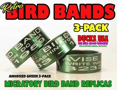 Duck Call Bird Band Retro Migratory Bird Band Replica Green Anodized 3-Pack