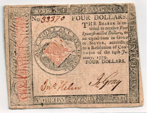 Continental Currency January 14, 1779 $4.