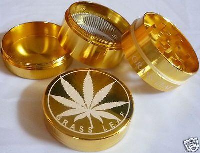 Grinder Grass Leaf Gold 4teilig oder 3teilig 7 GRÖßEN Crusher Herb Tabak Mill Herb Mill
