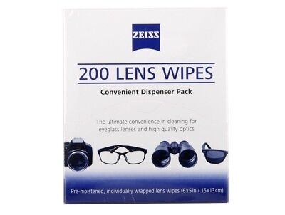 Zeiss Pre-Moistened Lens Cloths Wipes 200 Ct, Glasses Camera Phone Cleaning, New