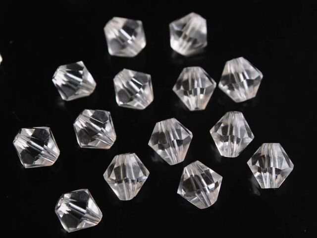50pcs 8mm Bicone Faceted Crystal Glass Findings Loose Spacer Beads Charms Clear