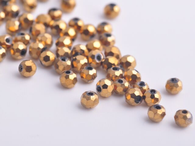 300x Wholesole 3mm Round Faceted Crystal Glass Charms Loose Beads Gold Plated