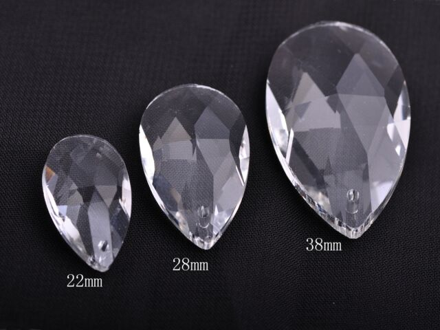 5pcs 22x13mm Teardrop Faceted Crystal Glass Charms Loose Beads Pendants Clear