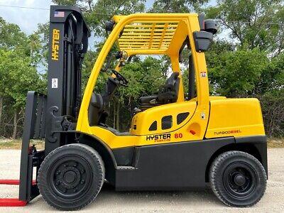 2014 Hyster H80ft 8000lb Pneumatic Forklift Turbo Diesel Fork Truck Hi Lo Hyster