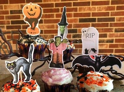 6 Handmade Halloween Cupcake Toppers,Appetizer Picks Bat,Tombstone, Frankenstein - Halloween Picks
