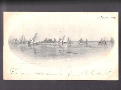 MADISON WISCONSIN WI 1902 Ice Yachting Boats Private Mailing Card Postcard PC