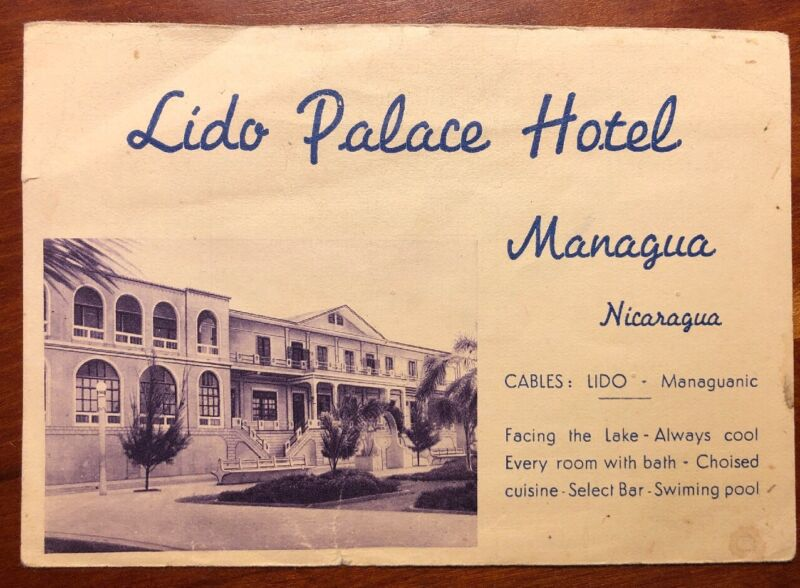 Lido Palace Hotel Reservation card for Four Managua Nicaragua