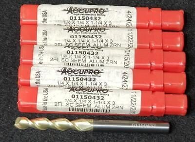 Lot Of 5 Accupro 14 1-14 Loc 14 Shank 3 01150432 Solid Carbide End Mill